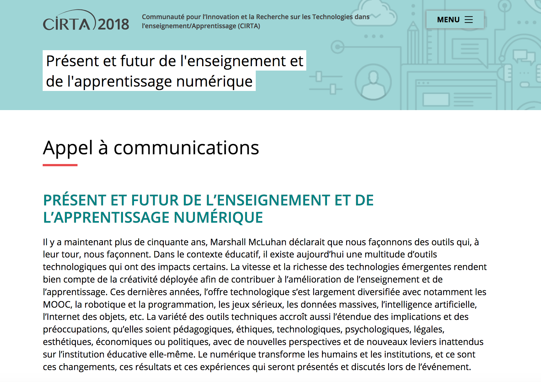 Appel à communication - CIRTA2018